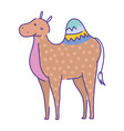 camel cartoon animal doodle color on white vector image
