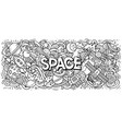 cartoon cute doodles space word vector image vector image