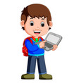 cartoon guy with tablet and notebook vector image vector image
