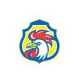 chicken rooster head mascot shield retro vector image vector image