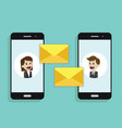 concept of a mobile email or chats of people via vector image vector image