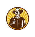 Cowboy Thumbs Up Sunburst Circle Woodcut vector image vector image