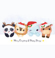 cute christmas greeting card with animals vector image