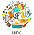 different musical instruments on white background vector image