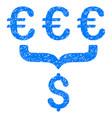 euro dollar conversion aggregator grunge icon vector image vector image