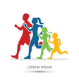 family running silhouettes vector image vector image