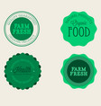 farm badge set of fresh organic elements vintage vector image vector image