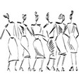 fast hand-drawn fashion sketch with girls vector image vector image