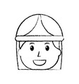 female face smiling worker with helmet protection vector image