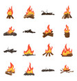 flame and fire sign set of vector image