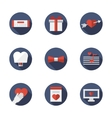 Flat blue round love relationships icons vector image vector image