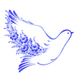 floral decorative ornament dove peace vector image