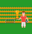 football champion with golden trophy vector image vector image