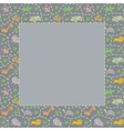 Frame with seamless pattern of funny animals vector image vector image