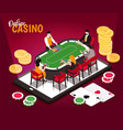 isometric online casino composition vector image vector image