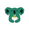 koala tea leaf cup drink negative space logo icon vector image