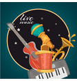 live music party or karaoke club logo vector image