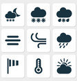 meteorology icons set collection of breeze haze vector image vector image