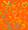 orange hearts seamless tile valentines day vector image vector image