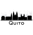 Quito City skyline black and white silhouette vector image vector image