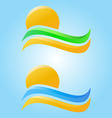 Rising sun and sea waves sand and grass icons vector image vector image
