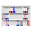 Rows of folders on the shelves vector image vector image
