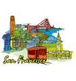 san francisco doodles vector image vector image