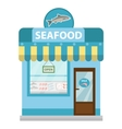 Seafood shop building showcase icon flat vector image vector image