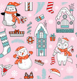 seamless pattern merry christmas elements vector image