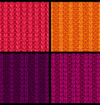 set of colourful ribbing stitch patterns vector image