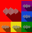 sound waves icon set of icons with flat vector image vector image