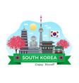 south korea tourism composition vector image vector image