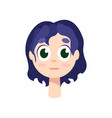 young girl with big green eyes and purple hair vector image vector image