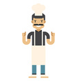 Smiling chef in pink apron and hat Flat isolated vector image