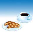 a Cup of coffee and croissants vector image vector image