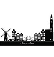 amsterdam city skyline text vector image vector image
