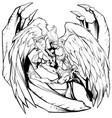 angel versus devil line art vector image vector image