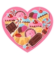 Background with colorful sticker candy sweets and vector image vector image