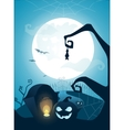 Blue Halloween background with full moon vector image vector image