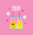 bottles of smoothie and juice fresh summer drink vector image
