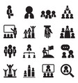 business management teamwork icons set vector image vector image