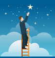 businessman reaching stars vector image