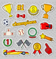 champions doodle with medals prize vector image vector image