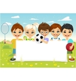 children with different sports equipment vector image