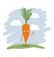 colorful background with cartoon carrot vector image vector image