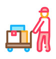 courier with trolley on wheels icon outline vector image vector image