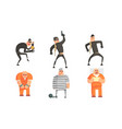 criminals and prisoners characters set masked vector image vector image