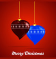 decorated christmas baubles heart shape and text vector image vector image