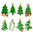 different christmas tree set isolated vector image vector image