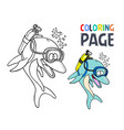 dolphin cartoon coloring page vector image